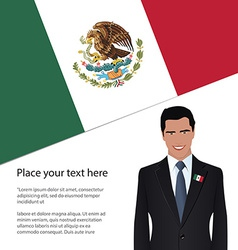 Man wearing suit mexico flag vector