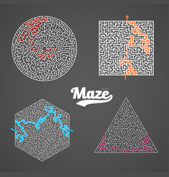 maze set labyrinth puzzle with solution vector image