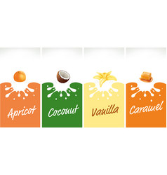 milk splash with caramel coconut vanilla vector image