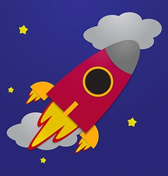 Paper rocket on night sky background vector image vector image