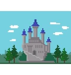 Pixel landscape with castle vector