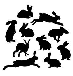 Rabbit silhouettes vector
