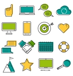 Set colored computer line icons vector image