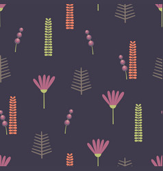 Stylized small flowers and plant elements vector