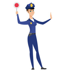 traffic police woman holding traffic sign vector image