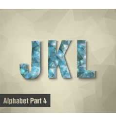 Triangular blue alphabet j k l vector