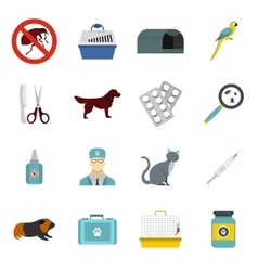 Veterinary icons set flat style vector image