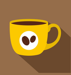 Yellow cup of coffee icon flat style vector