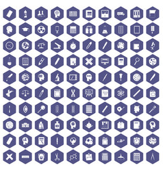100 learning icons hexagon purple vector image vector image