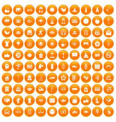 100 yoga studio icons set orange vector