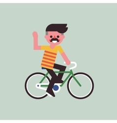 Man riding on bike and friendly smiling vector