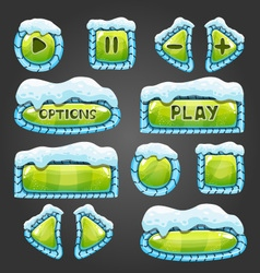 Winter cartoon light green buttons with snow vector