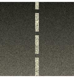 Dashed line on asphalt vector