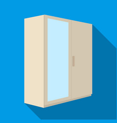A small wardrobe with a clean mirrorbedroom vector