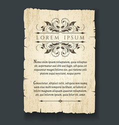 retro design elements on old paper sheet vector image