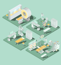 set of 3d flat isometric of medical vector image