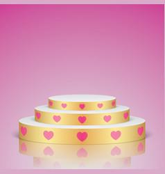 Golden romantic scene with pink hearts vector