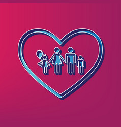 family sign in heart shape vector image