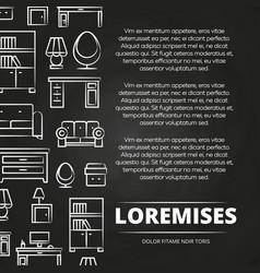 Furniture shop or advertising blackboard poster vector
