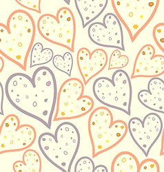 Seamless pattern of dotted hearts vector