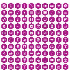 100 karaoke icons hexagon violet vector