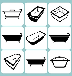 Baths icons set vector