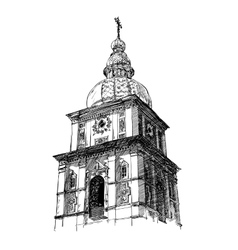 Digital drawing of ukrainian church engraving vector