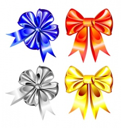 Set of shiny ribbon bows vector