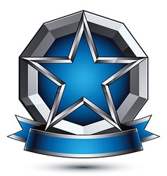 Renown silver star with wavy ribbon placed on a vector