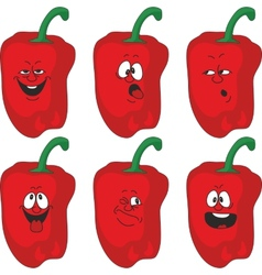 Emotion cartoon red pepper vegetables set 013 vector