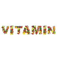 Word vitamin composed of different fruits with vector