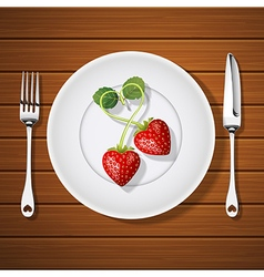 Fork with knife and strawberries in heart shape vector