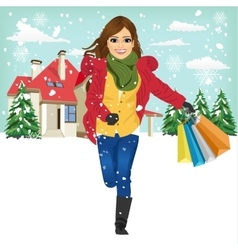 Shopping woman with gift bag running joyful vector