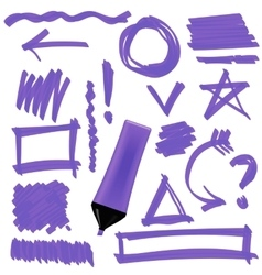 Purple marker set of graphic signs arrows vector