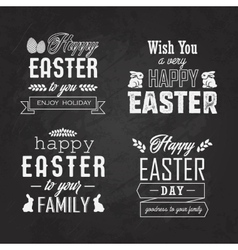 Easter label set on blackboard vector