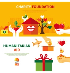 Charity foundations 2 flat banners set vector
