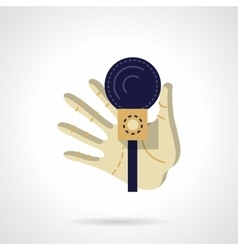 Hand with microphone flat color design icon vector