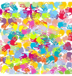 abstract colored hands background vector image
