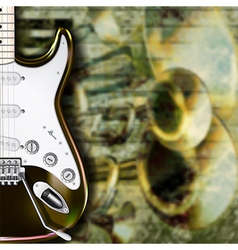abstract grunge background with guitar and musical vector image