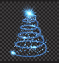 blue particle wave in form of christmas tree vector image vector image