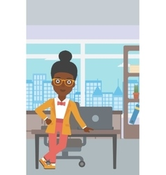 Business woman standing in the office vector