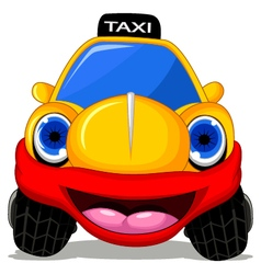 Cartoon taxi car with red smile for transportation vector image