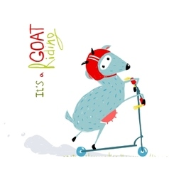 Childish colorful fun cartoon goat riding scooter vector
