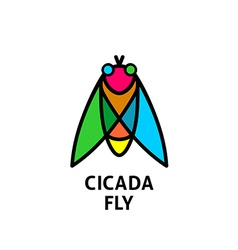 Cicada colorful symbol insect top view logo vector