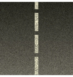 Dashed line on asphalt vector