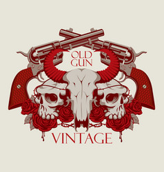 Emblem with skull of cow and human roses and guns vector