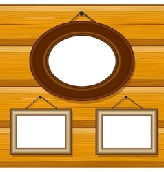 frames on wooden blockhouse wall pattern vector image
