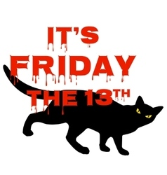 Friday 13 with black cat vector image vector image