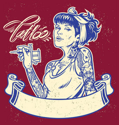 girl tattoo artist with banner vector image