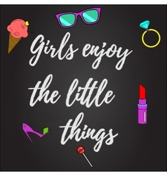 Girls enjoy the little things background vector image vector image
